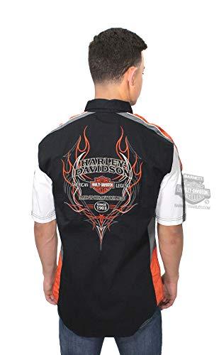 Harley-Davidson Men's Performance Vented Pinstripe Flames Shirt 99046-16VM (L) Black