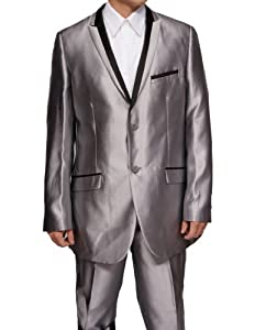 B004515492 New Mens Super 120's Shiny Silver Sharkskin Dress Suit with Black Trim