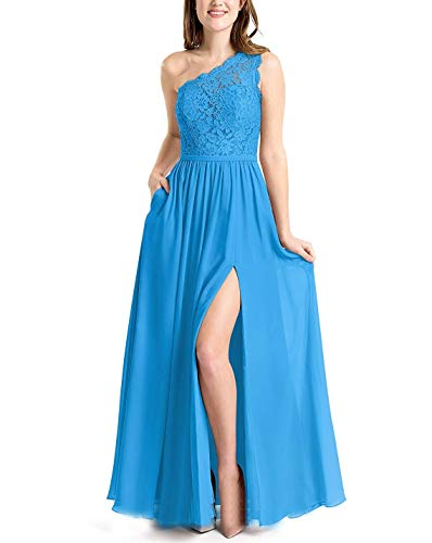 Meaningful One Shoulder Lace Bridesmaid Dresses Floor for sale  Delivered anywhere in USA