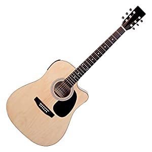 Classic Cantabile WS-10NAT-CE Westerngitarre mit Tonabnehmer (Akustik und verstärkt, Dreadnought, Cutaway, 3-Band EQ…