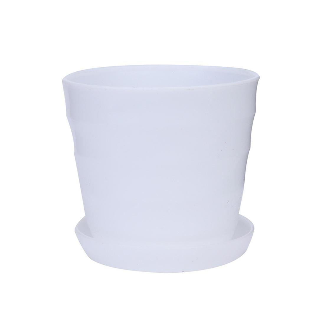 Garden Flowers Pot, Elevin(TM) Colourful Mini Plastic Flower Pot Succulent Plant Flowerpot Home Office Decor (white)