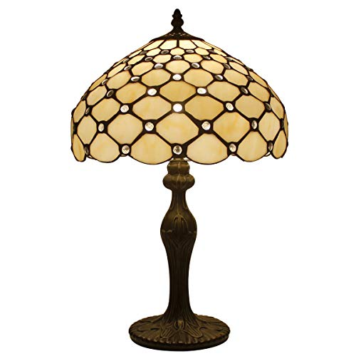 Tiffany Lamp Cream Stained Glass and Crystal Pearl Bead Style Table Lamps Height 18 Inch for Kids Room Living Room Bedroom Antique Desk Dresser Beside Coffee Table Bookcase S005 WERFACTORY