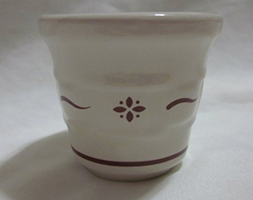 Longaberger Pottery Woven Traditions Votive Candle Holder (Ivory with Burgundy)