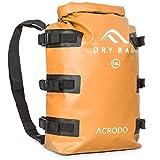 Acrodo Dry Bag Patented Waterproof Backpack - Orange 15 Liter Floating Sack for Beach, Kayaking, Swimming, Boating, Camping, Travel & Gifts