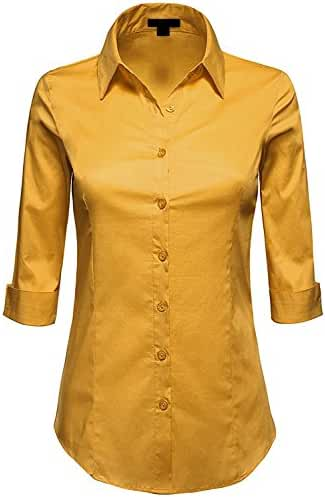 MAYSIX APPAREL 3/4 Sleeve Stretchy Button Down Collar Office Formal Casual Shirt Blouse For Women (S-3XL)