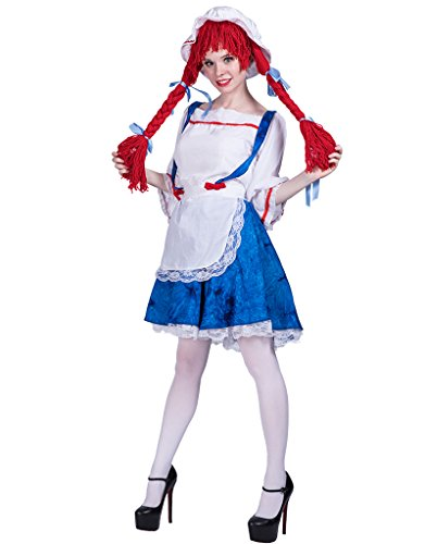 EraSpooky Women's Rag Doll Halloween Costume(Blue, Medium) (Halloween Rag Doll Costume)