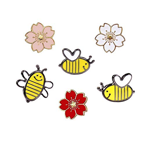 Enamel Womens Pins - Cute Enamel Lapel Pins Sets Cartoon Animal Plant Fruits Foods Brooches Pin Badges for Clothing Bags Backpacks Jackets Hat DIY (Sakura bee Set of 6)