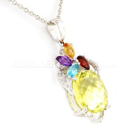 Quartz jaune, pierre & or blanc 18 ct avec pendentif ovale diamant