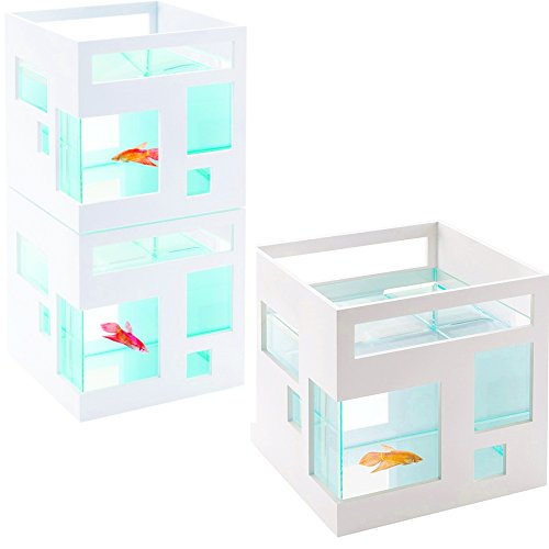 1 Gallon Stackable (Stackable Fish Tank Goldfish Betta Small Fish Modern Plastic Glass White Square Small 1-2 Gallon Aquarium eBook by Easy&FunDeals)
