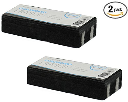 2 Eraser Set (Traditional Chalkboard Eraser, All Felt 6 Inch Premium Quality Chalk Eraser, Set of 2 (2 Pack))
