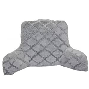 backrest pillow with arms grey fur with trellis pattern home kitchen. Black Bedroom Furniture Sets. Home Design Ideas