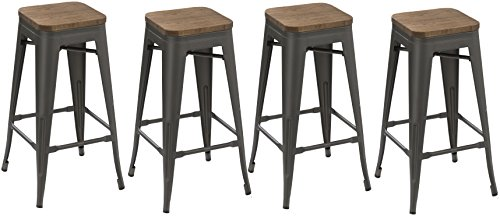 BTEXPERT 30-inch Industrial Metal Vintage Stackable Antique Gunmetal Rustic Distressed Counter Bar Stool Modern - Handmade Wood top seat( Set of 4 barstools )