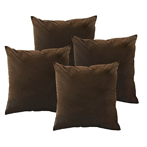 Deconovo Super Soft Velvet Pillowcase Cushion Cover Smooth Square Throw Pillow Covers for Bed 18 x 18 Inch Chocolate Set of 4