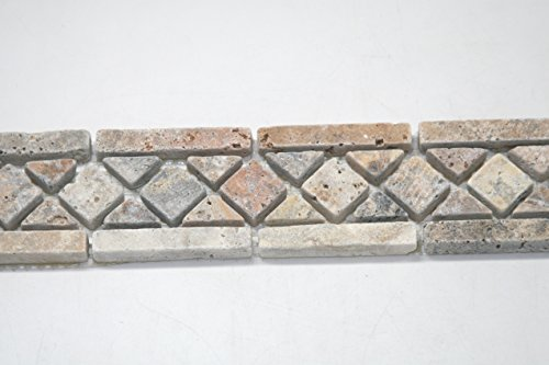 SCABOS TRAVERTINE ANKE BORDER TUMBLED TILE BORDERS ( 5 PCS IN BOX ) by SCABOS