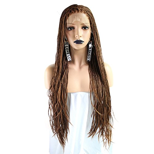 Blonde Glueless Synthetic Lace Front Braid Wig with Baby Hair Braided Box Braids Wig Heat Resistant