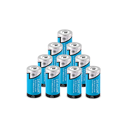 Zeasun Rechargeable Batteries(10-Pack), 800mAh 3.7V 16340 Rechargeable Li-ion Battery