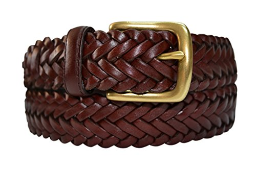 796-OXB-36 - Toneka Men's Casual Woven Full-grain Braided Leather Belt with Solid Brass Buckle](Mens Leather Woven Belt)