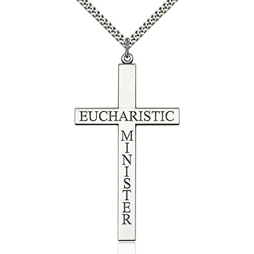 Sterling Silver Eucharistic Minister Cross Pendant 2 5/8 X 1 3/8 inches with Heavy Curb Chain by Unknown