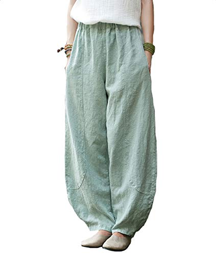 IXIMO Women's Linen Wide Leg Pants Loose Fit Bloomers Trousers with Elastic Waist Style3 Green L