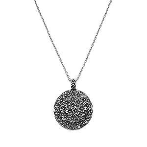 Antique Silver Tone Round Flowers Pendant Necklace Chain Long Necklace (Antique Style 1)