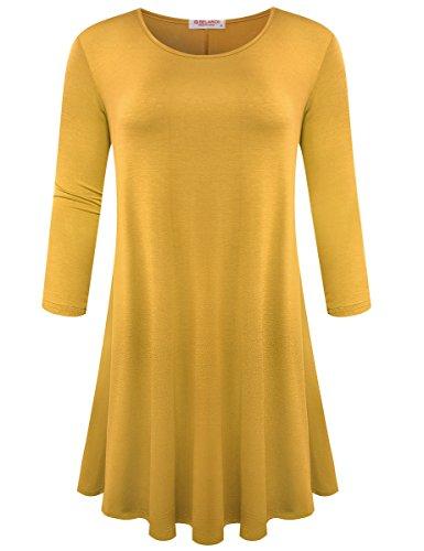 3/4 sleeve yellow dress - 4