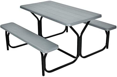 Giantex Picnic Table Bench Set Outdoor Camping All Weather Metal Base Wood-Like Texture Backyard Poolside Dining Party Garden Patio Lawn Deck Furniture Large Camping Picnic Table