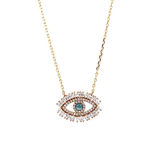 Or Is Cat Necklace - Turkish Evil Eye Necklace Cats Eye Gold Plated Faith Protection Lucky Jewelry for Women and Girls Party Special Days(Evil Eye Necklace)