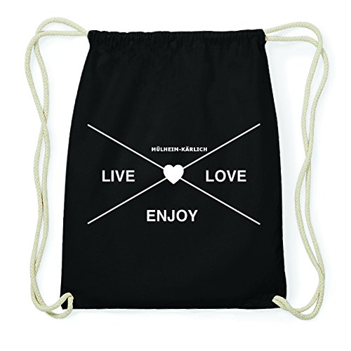 JOllify MÜLHEIM-KÄRLICH Hipster Turnbeutel Tasche Rucksack aus Baumwolle - Farbe: schwarz Design: Hipster Kreuz