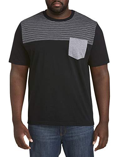 Harbor Bay by DXL Big and Tall Slub Stripe Pocket T-Shirt, Black Gray, 6XL