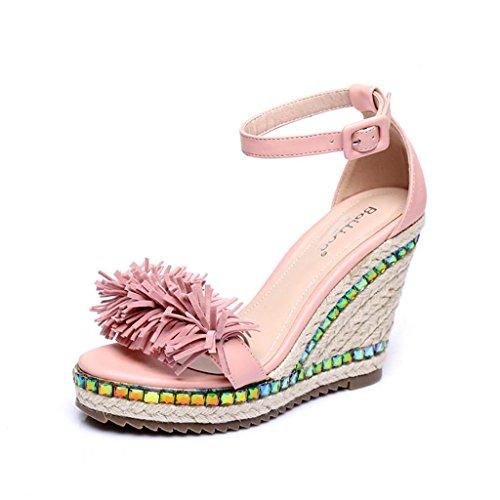 Bailing Sandalias De Verano Para Mujer / Talón De Cuña Hechos A Mano Paja De Paja A Prueba De Agua / Fondo Grueso / Borla Zapatos De Tamaño Pequeño De Color Rosa