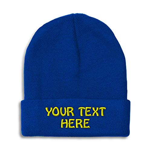 Winter Hat Beanie for Men & Women Custom Personalized Text Name Embroidery Acrylic Skull Cap Hat Royal Blue