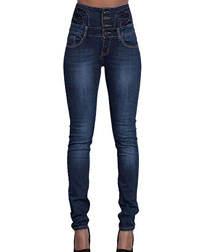 Fonc Jeans Collant Slim Pantalons Leggings Taille Haute Denim Femme Bleu Crayon Kasen n7SHqwxpPx