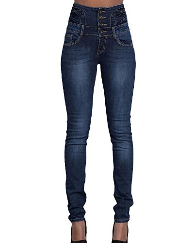 Up Push Alta M Mujer Vaquero Skinny Cintura Elástico Marino Azul Pantalones Pantalones Jeans S4IHqA