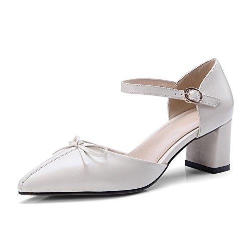 Hebilla KJJDE Zapatilla Para Tacón Cinturón WSXY Mujer Toe Zapatos Caminar Exquisita Chanclas L0223 Confort de Peep Sandalias White 0Z1Erxqw0