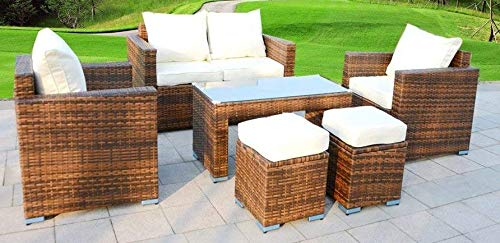 (Outdoor Wicker PE Rattan Decorative 6 Six Piece and Seat Sectional Sofa Lounger Ottoman Patio Furniture Set and Glass Table )