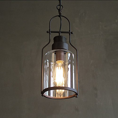 Industrial 1-Light Rust Metal Glass Lantern Pendant Light
