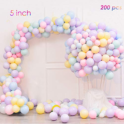 EASTiii 200pcs Mini Pastel Latex Balloons 5 Inch Assorted Macaron Candy Colored Latex Party Balloons for Wedding Kids Birthday Party Baby Shower Party Decor Supplies Arch Balloon Tower -