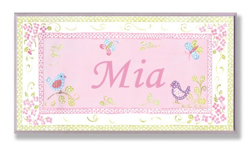(The Kids Room by Stupell Mia, Pink and Green Chickadees Personalized Rectangle Wall Plaque)