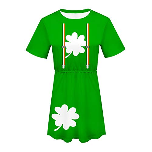 LUCA Womens Green Print Short Sleeve O-Neck Casual Dress for ST. Patrick's -