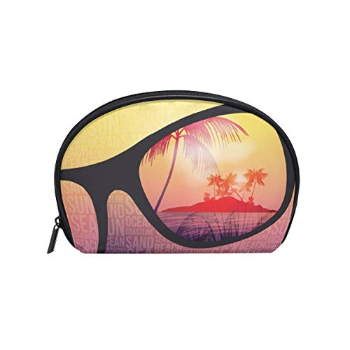 Senya Travel Cosmetic Bag Small Makeup Toiletry Bag Portable Carry Case Pouch Girls Women Personalized Organizer Tote Bag For Jewelry Toiletries Summer Beach Party Flyer Design With Sunglasses]()
