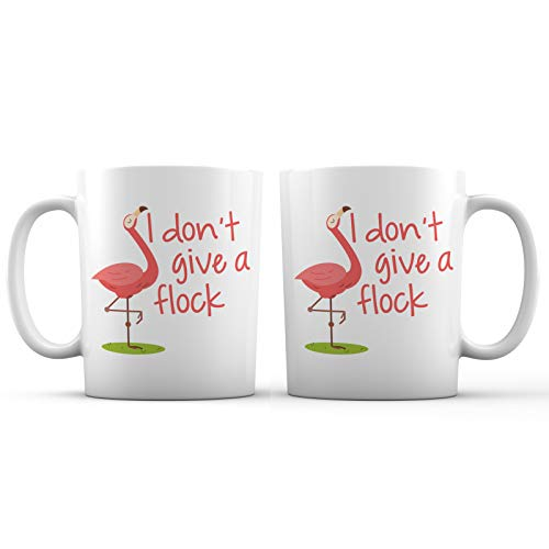 I Don't Give A Flock Reckless Flamingo Funny Ceramic Coffee Mug - 11 oz. - Awesome New Design Decorative Sarcastic Gift Cup Accessory for Women, Men, Girls, Mom, Wife, Girlfriend, Boyfriend