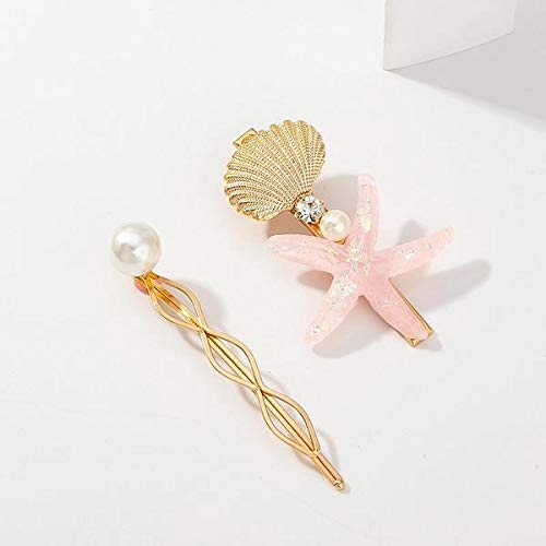 Starfish and Sea Shell Pearl Hair Pins Accessories, Set of 2 (Pink)