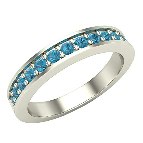 Halfway Semi-Eternity Blue Diamond Wedding Ring/Band Comfort Fit 14K White Gold (Ring Size 8)