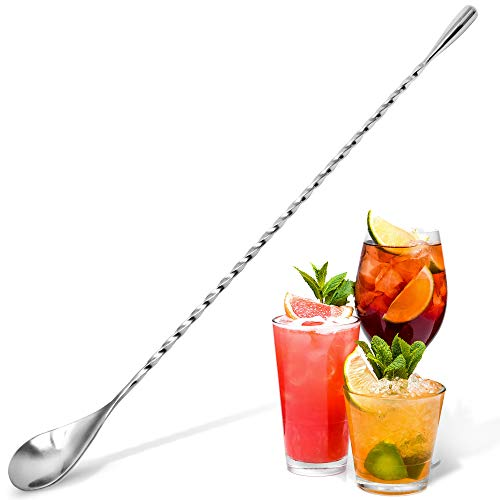 Zulay Premium 12 Inch Stainless Steel Cocktail Spoon, Long Attractive Spiral Design Perfect for Mixing and Layering…