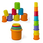 Rainbow Stacking & Nesting Cups Baby Building Set. 8 Pieces. With Embossed Animal Characters. For Indoor, Outdoor, Bathtub, And Beach Fun Toy. Multi Colors