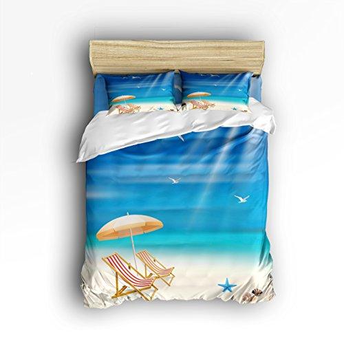 Libaoge 4 Piece Bed Sheets Set, Sandy Beach Starfish Sunshine Print, 1 Flat  Sheet