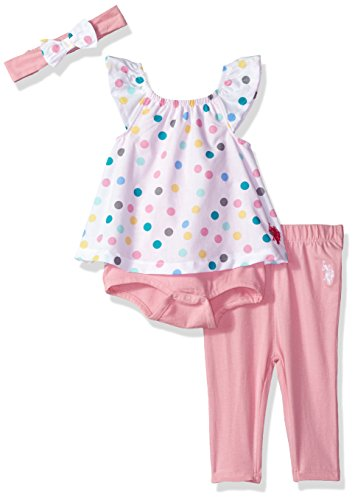 U.S. Polo Assn. Baby Girls Fashion Top, Pant and Accessory Set