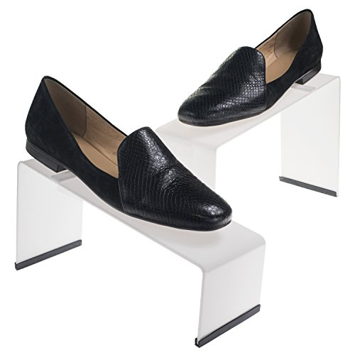 Source One Premium Colored Acrylic Shoe Display Risers. Set of 3 with Non Slip Rubber Available in All Colors (Clear)