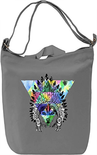 Indian Wolf Borsa Giornaliera Canvas Canvas Day Bag| 100% Premium Cotton Canvas| DTG Printing|