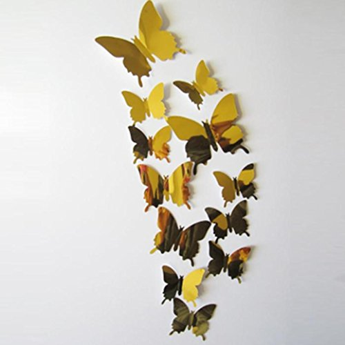 Kwok Exquisite Wall Stickers Decal Butterflies 3D Mirror Wall Art Home Decors (Gold)